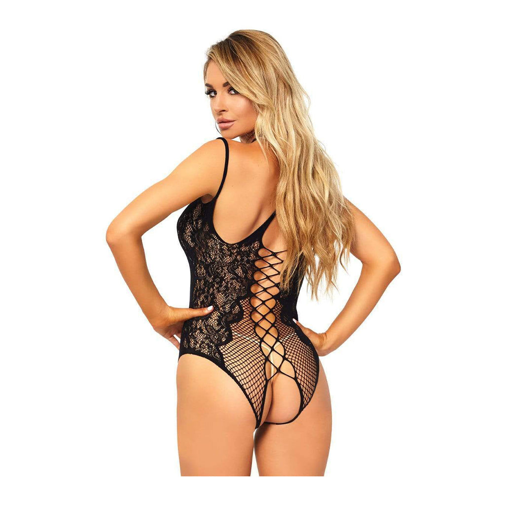 Leg Avenue Lace Fishnet Crotchless Bodysuit
