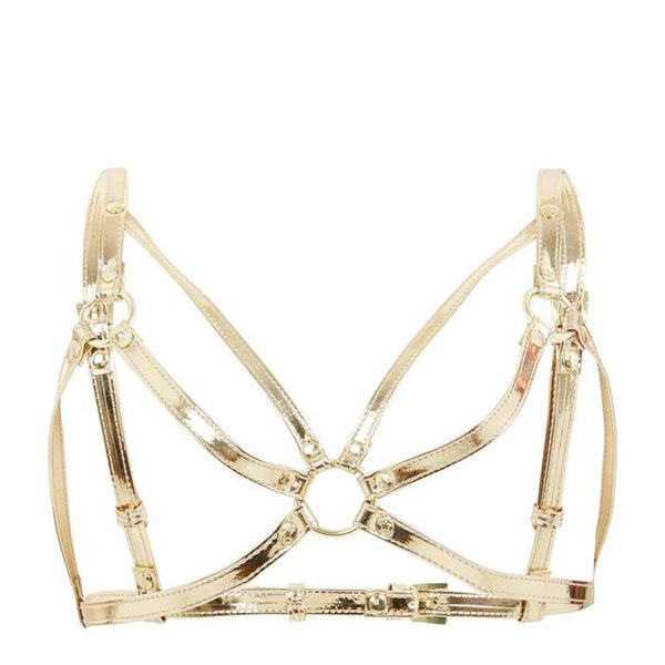 Regalia Chest Harness Open Bra Gold