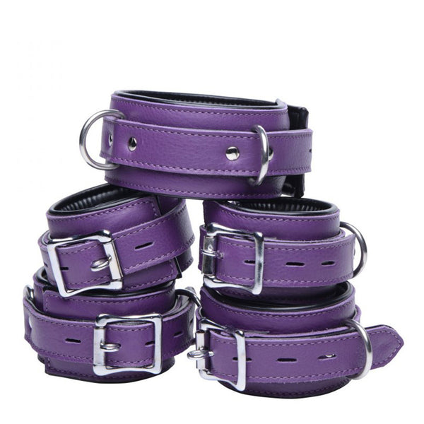 Strict Leather Purple Cuffs and Collar Set