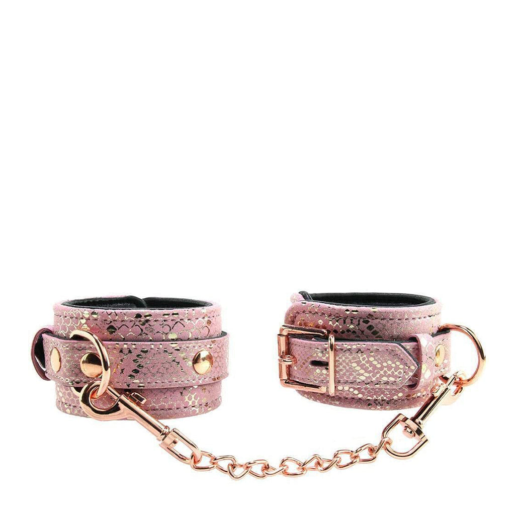 Spartacus Snake Print Padded Leather Ankle Cuffs Pink