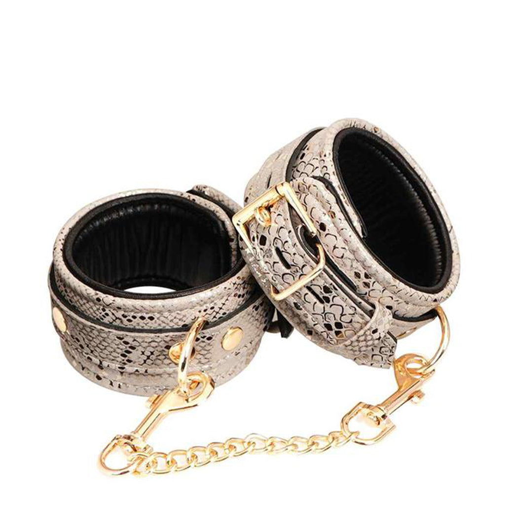Spartacus Snake Print Ankle Cuffs Padded Leather White