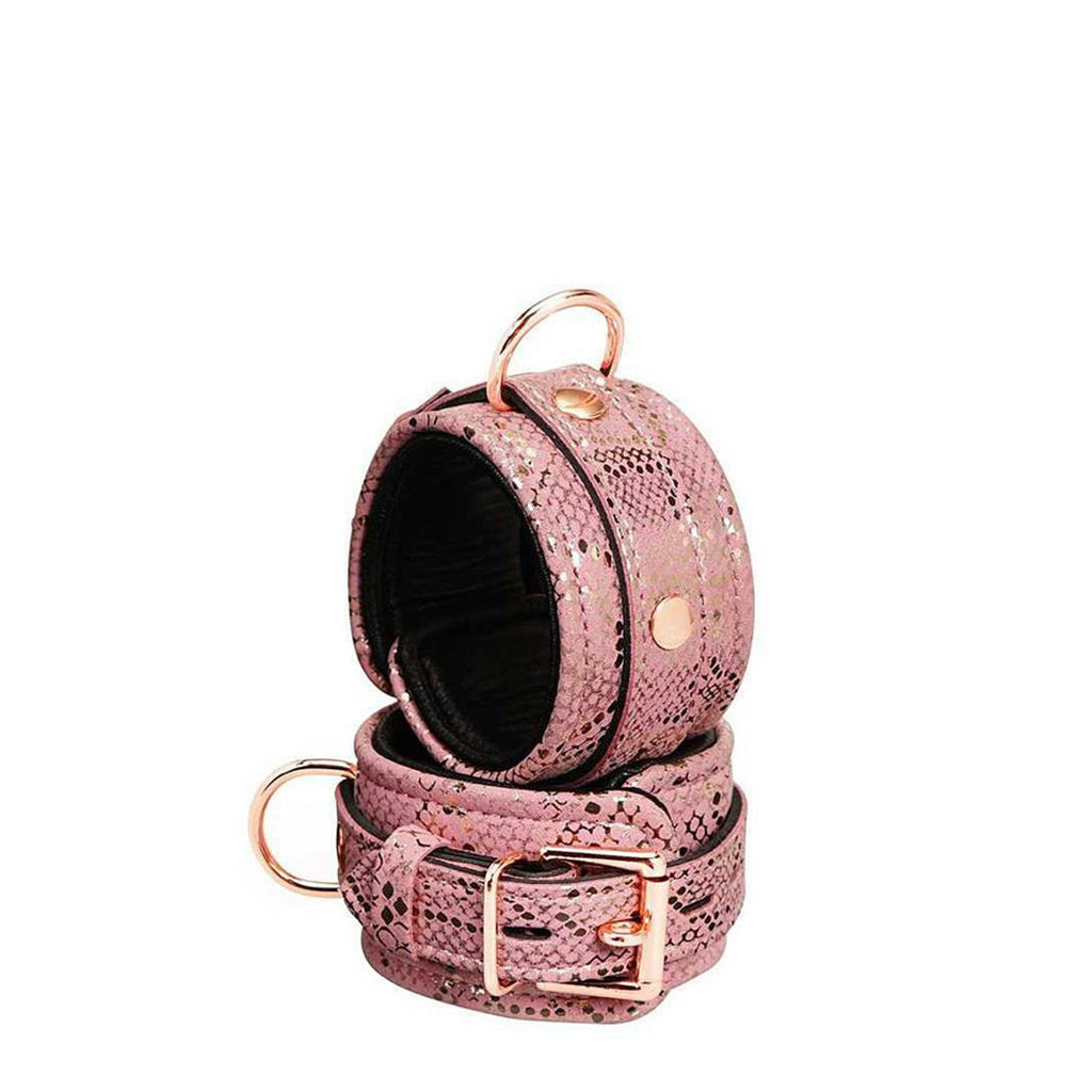Spartacus Snake Print Wrist Cuffs Padded Leather Pink