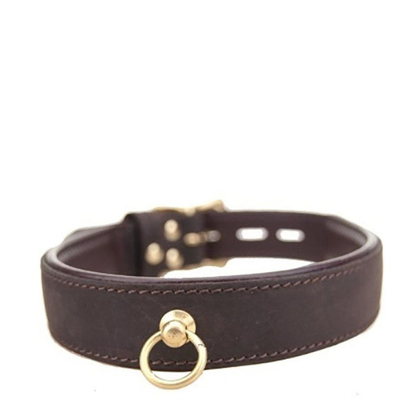 Bound Nubuck Leather Collar with O-Ring .