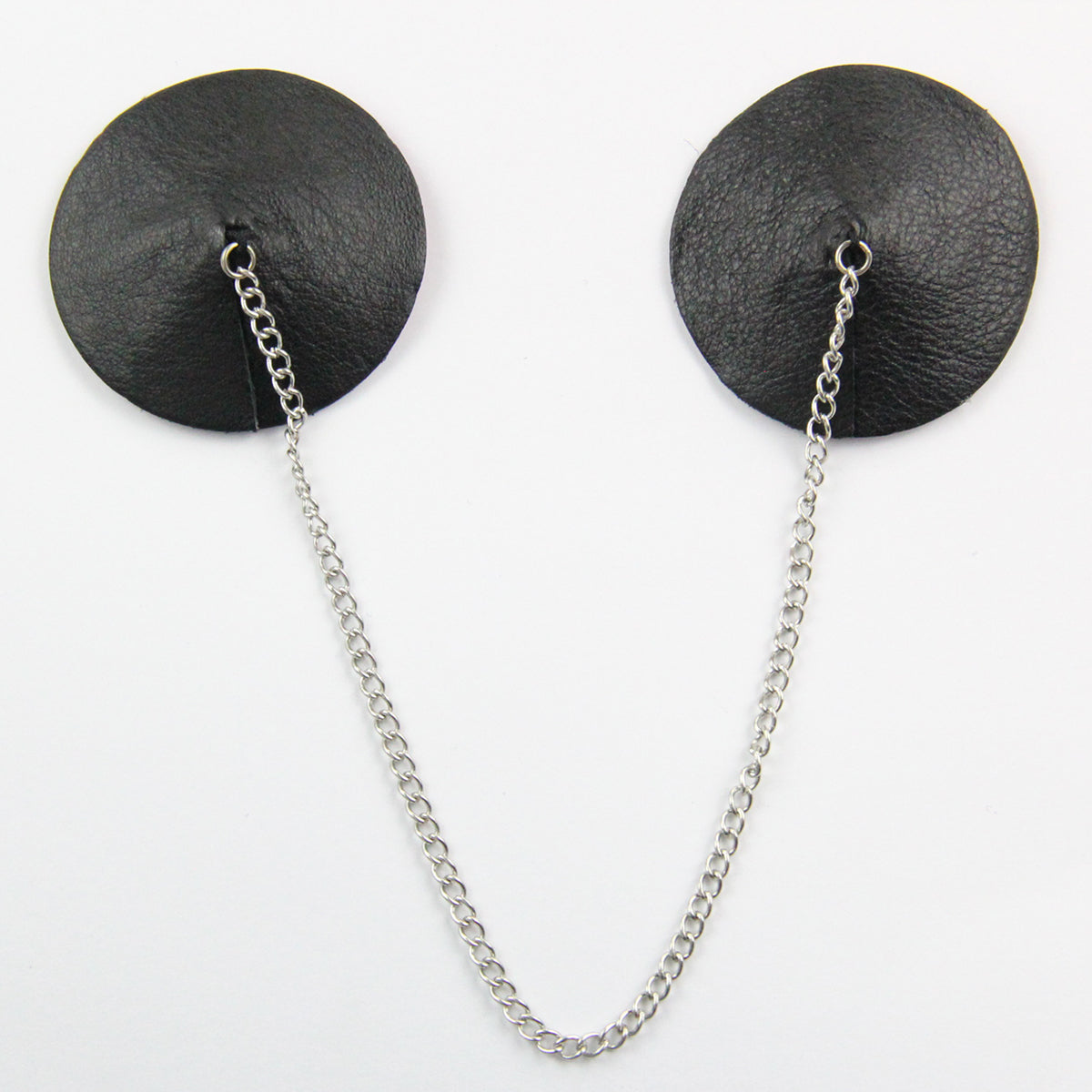 Round Leather Nipple Pasties with Silver Chain