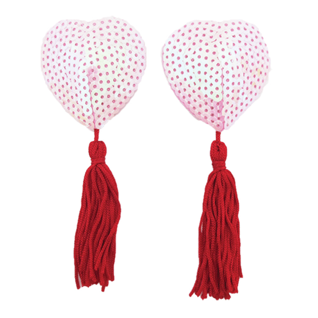 Sequin Nipple Pasties Pink Heart with Red Tassels
