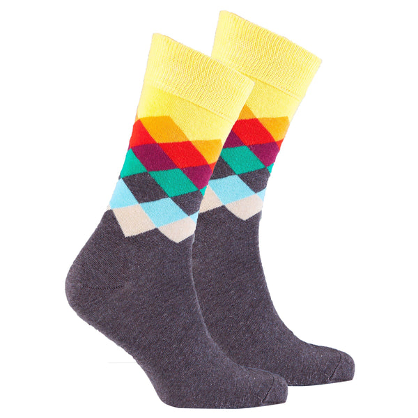 Tobacco Flame Diamond Crew Socks