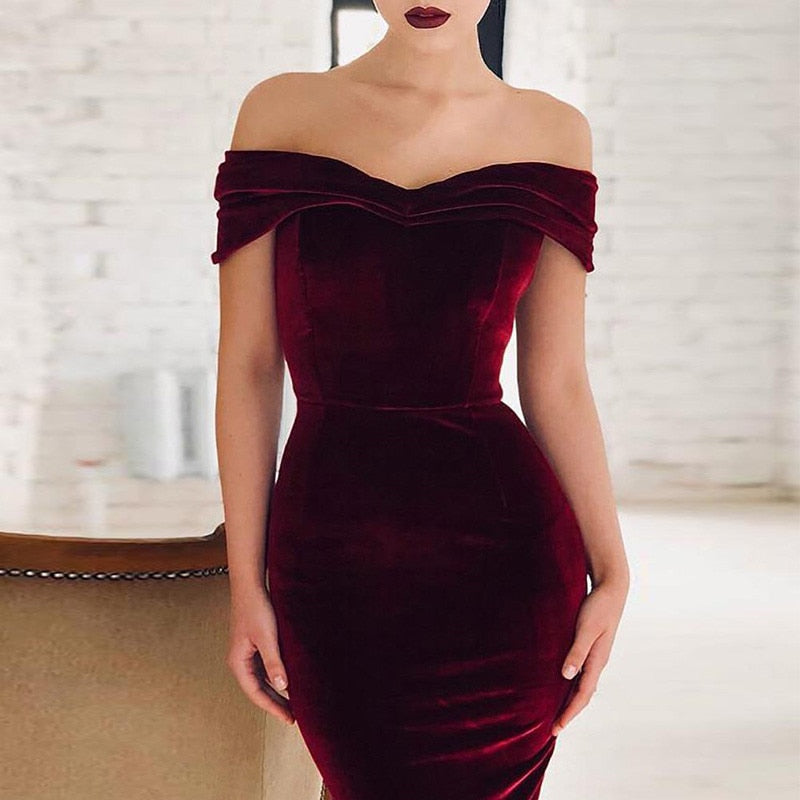 2019 Women Velvet Off Shoulder Dress