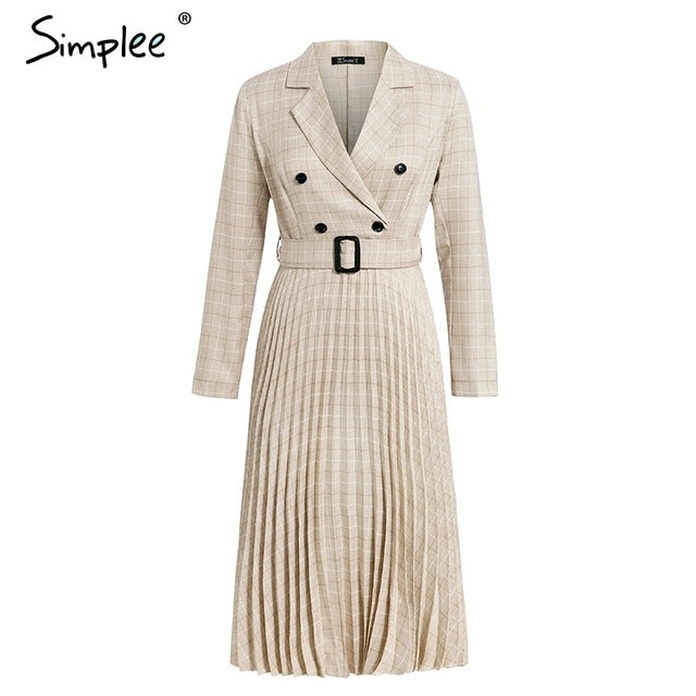 Vintage pleated belt plaid dress women Elegant