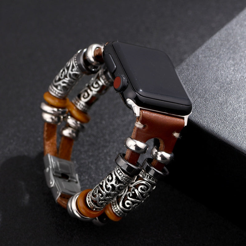 Vintage PU Leather Embossed Ornament Wristband For Apple Watch Series 4/3 Replacement Bracelet Strap For Women Men Accessories