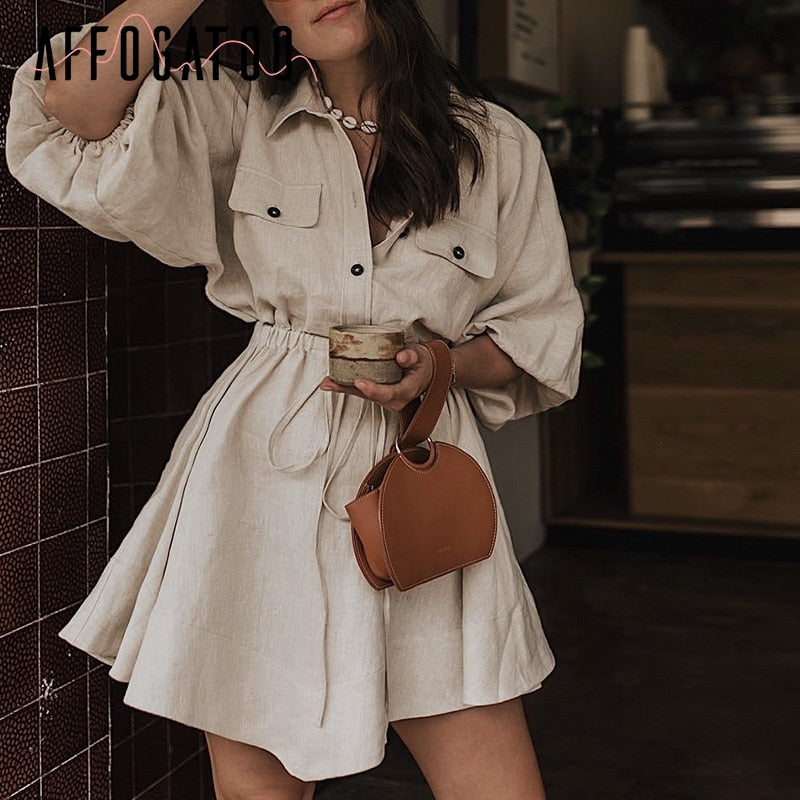 Vintage elagant women lantern sleeve short dress Turndown collar lace up Linen Different Color Selection