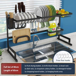 Kitchen Shelf Organizer Dish Drying Rack Over Sink Utensils
