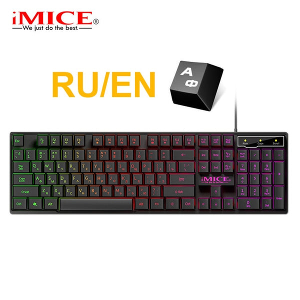 Wired Gaming Keyboard Waterproof USB 104 Keycaps Russian