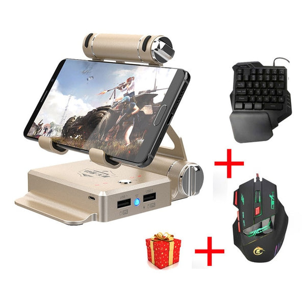 GameSir X1 BattleDock Converter Stand Docking for AoV,Mobile Legends, FPS Game with G30 Wired Gaming keyboard and HXSJ Mouse