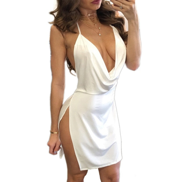 Women Dress Cocktail Mini Backless