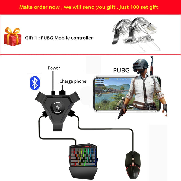 Gamepad Controller Gaming Keyboard Mouse Converter For Android ios Phone IPAD Bluetooth 4.1 Adapter Free Gift