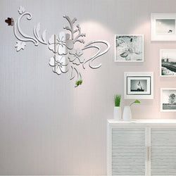 3D Mirror Flower Wall Decor