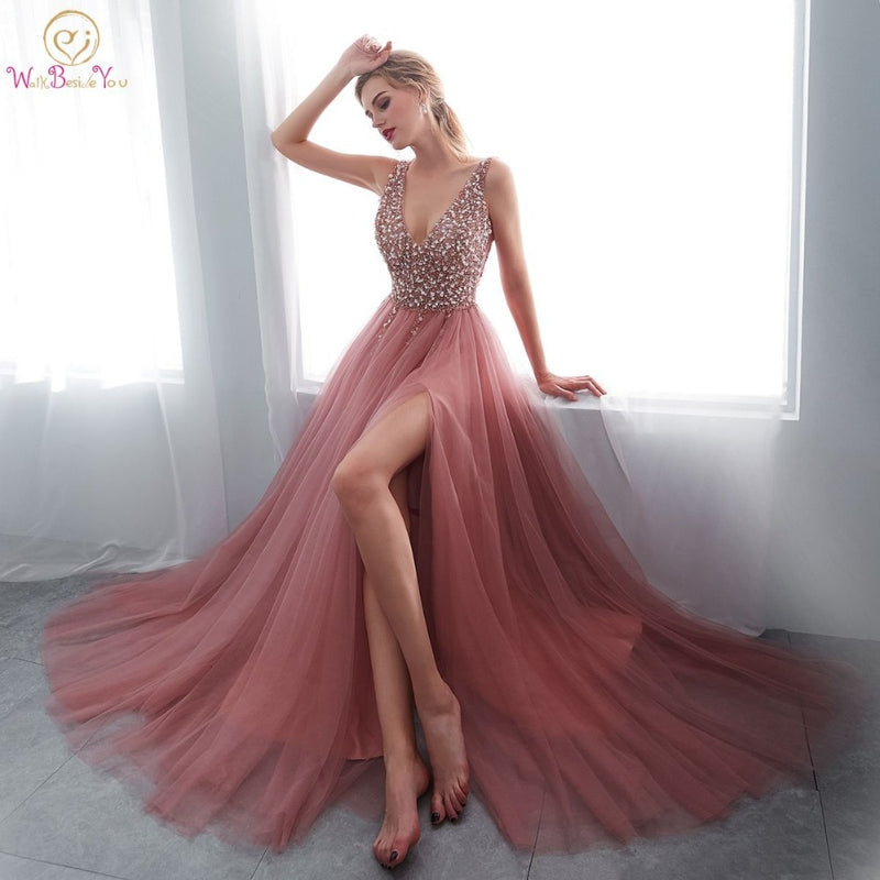 V neck Pink High Split Tulle Sweep Train Sleeveless Evening Gown