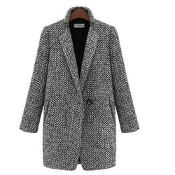 Wool Coat Single Button Pocket Oversize Long Trench
