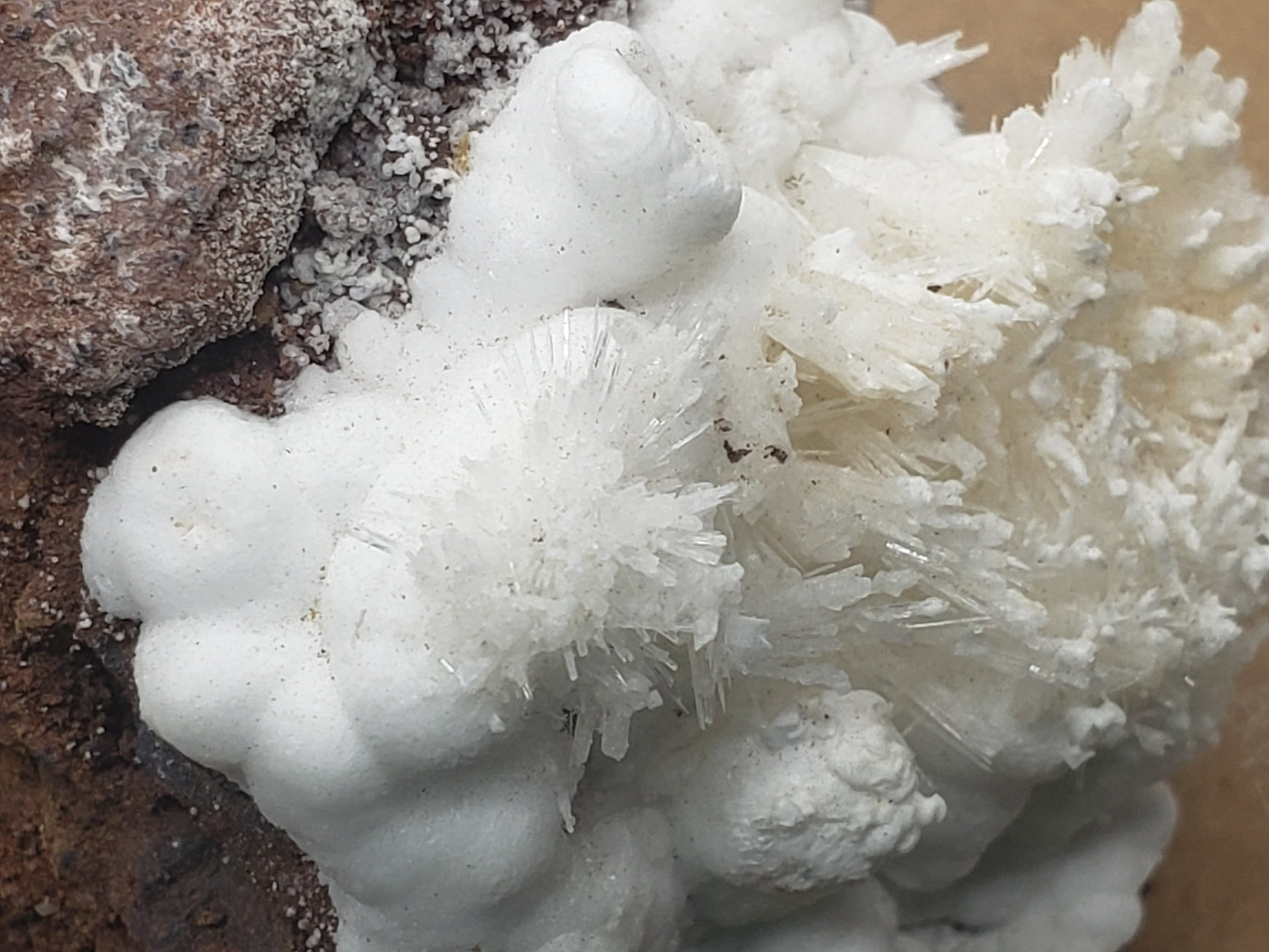 Natrolite on Aragonite specimen
