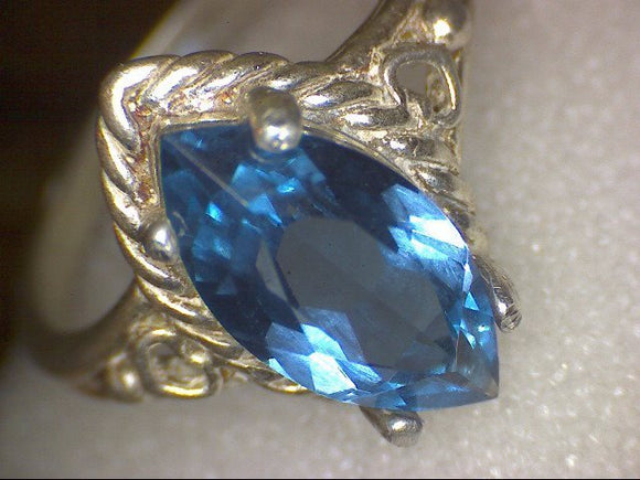 Marquise London Blue Topaz Ring Vintage