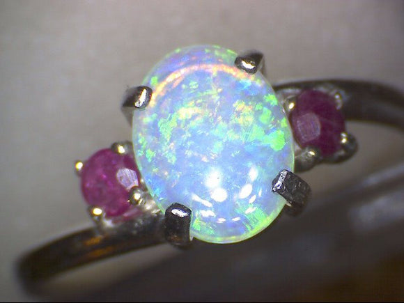 Lightning Ridge Australian Opal w Ruby Ring
