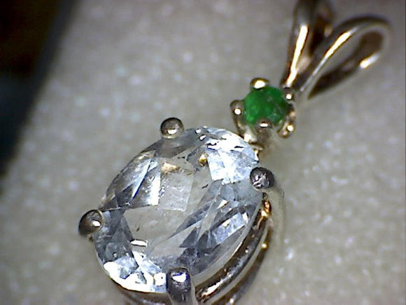 Emerald with Blue Topaz Pendant