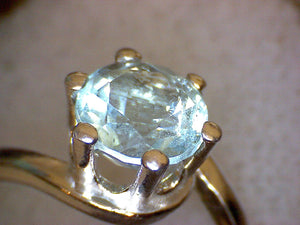 Blue Aquamarine Crescent Ring