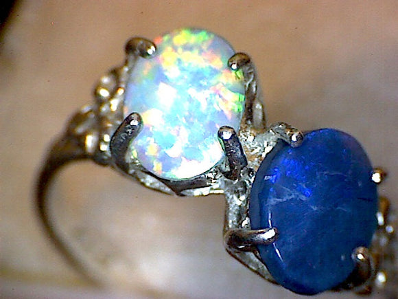 Vintage Lightning Ridge Australian Black Opal Ring