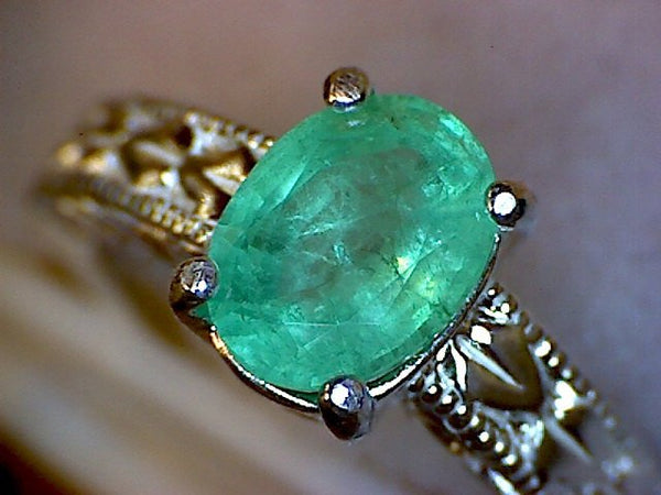 Emerald Engraved Shank Ring