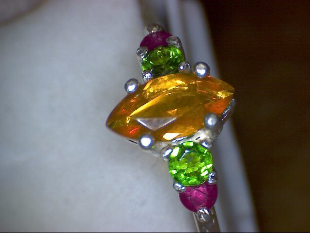 Fire Opal Marquise with Tsavorite and ruby Ring