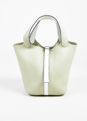 "Hermes Pistache Blanc Clemence Leather ""Picotin Lock PM"" Tote Bag frontview"