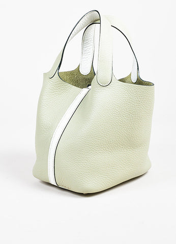 "Hermes Pistache Blanc Clemence Leather ""Picotin Lock PM"" Tote Bag Sideview"