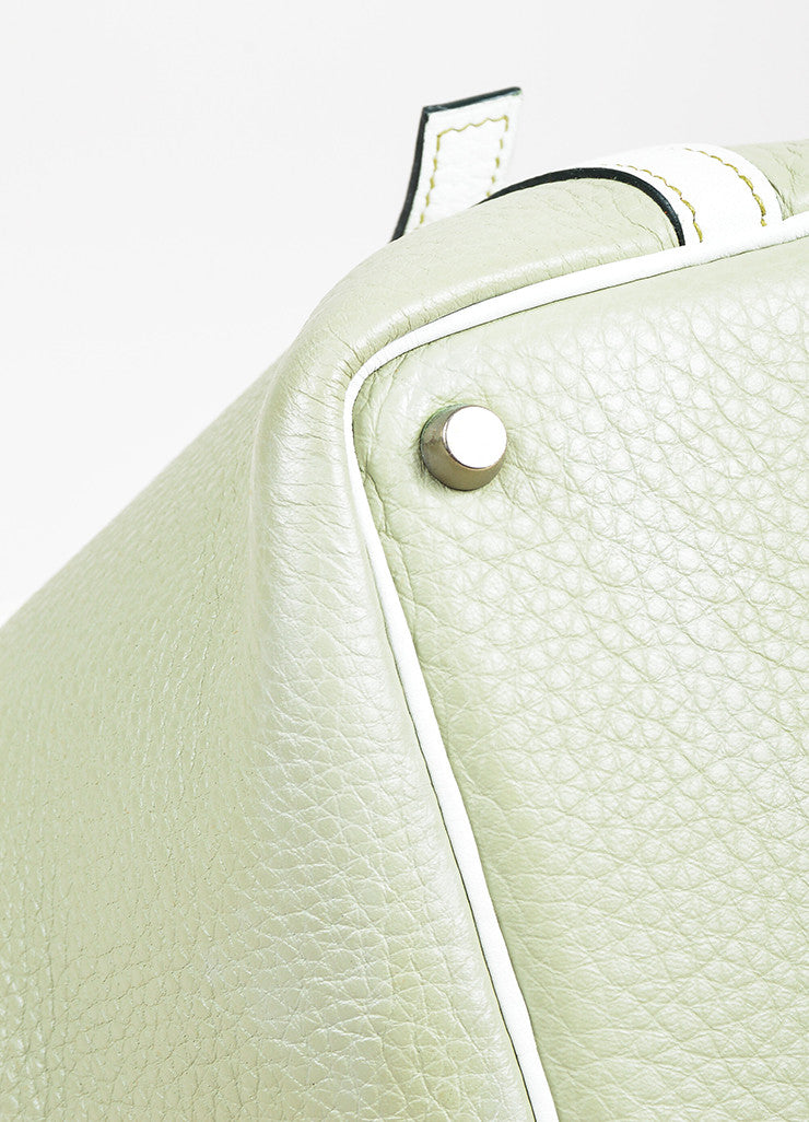 "Hermes Pistache Blanc Clemence Leather ""Picotin Lock PM"" Tote Bag Detail"