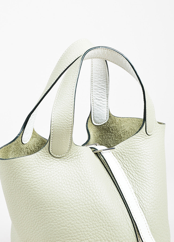 "Hermes Pistache Blanc Clemence Leather ""Picotin Lock PM"" Tote Bag Detail 2"