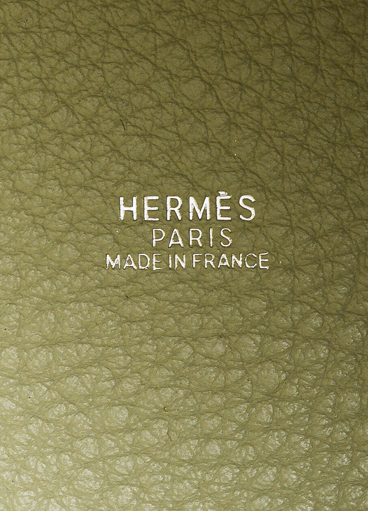 "Hermes Pistache Blanc Clemence Leather ""Picotin Lock PM"" Tote Bag Brand"