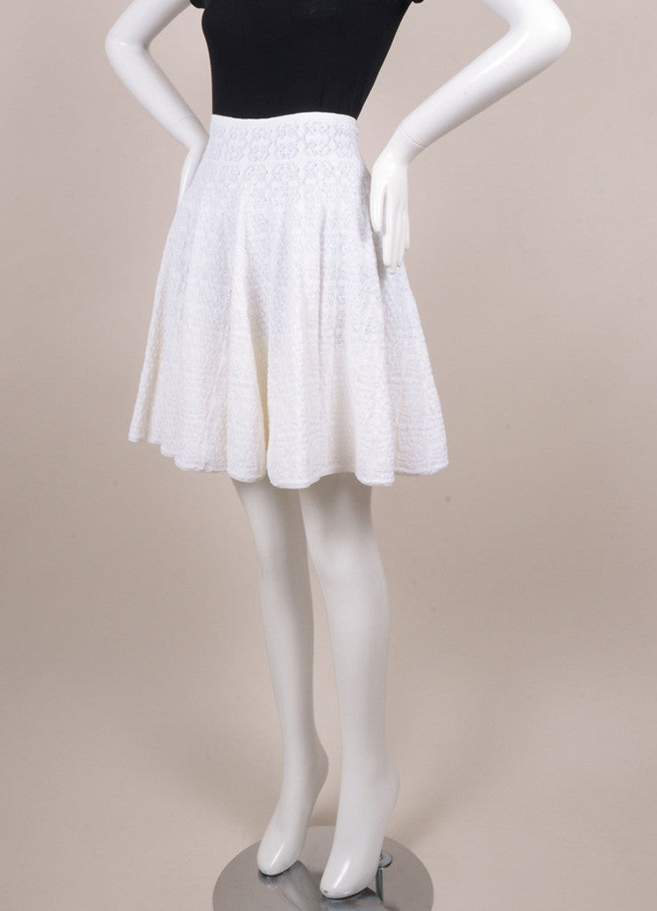 Alaia Cream Knit Pleated Skater Skirt Sideview