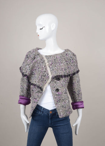 White and Purple Wool Woven Fringe Jacket