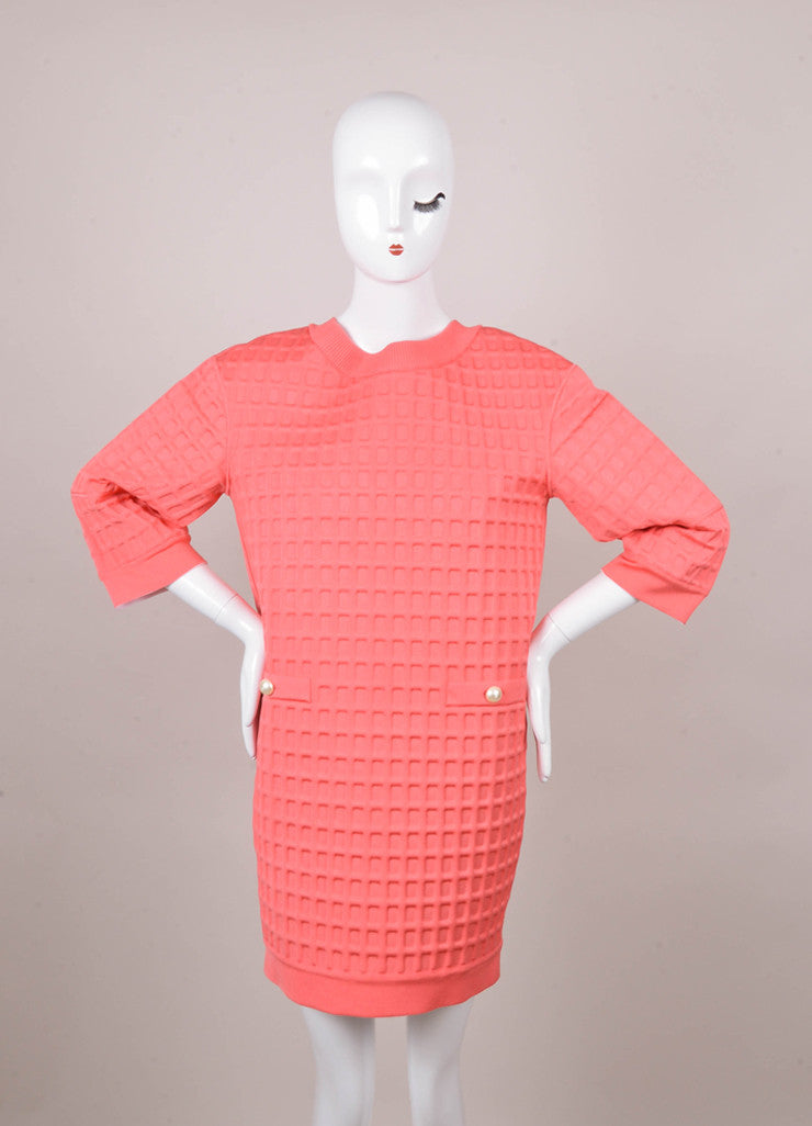 New With Tags Pink Textured Cropped Sleeve Dress