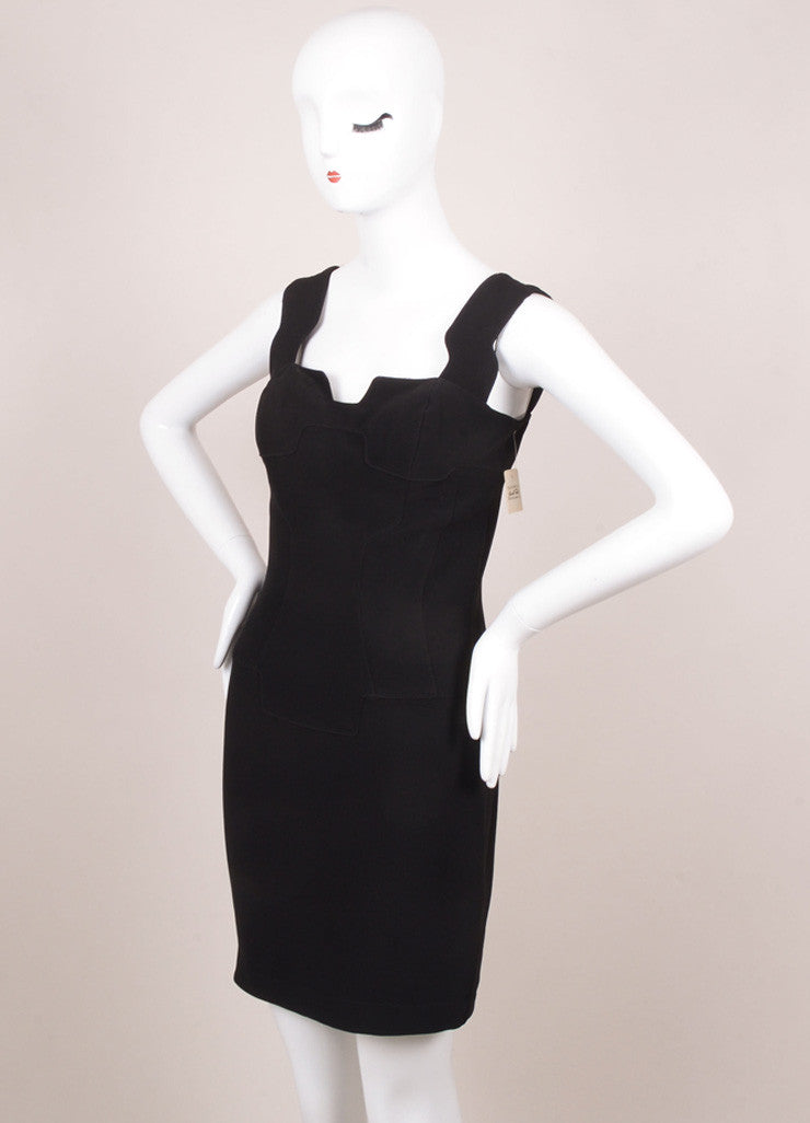 Thierry Mugler Black Cut Out Padded Sleeveless Dress Sideview