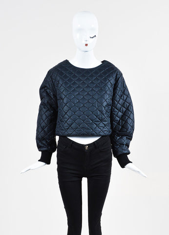 Acne Studios Navy Nylon Quilted Long Sleeve Scoop Neck Cropped Top Frontview