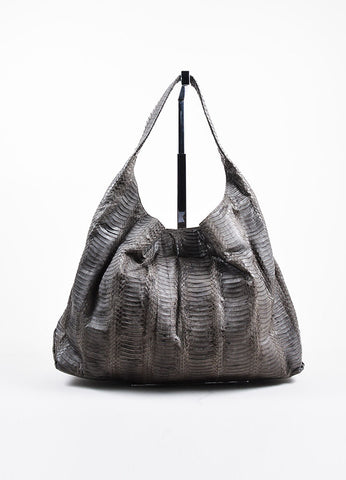 Grey Adriana Castro  Python Oversized Hobo Bag Frontview