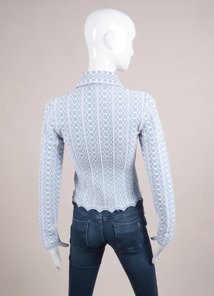 Alaia Light Blue and White Stretchy Textured Knit Zip Jacket Backview