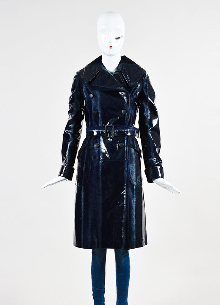 Navy Blue Alaia Patent Leather and Pony Hair Burnout Trench Coat Frontview