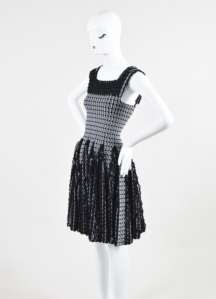 Black and White Alaia Circle Knit 3D Ruffle Sleeveless Flare Dress Sideview