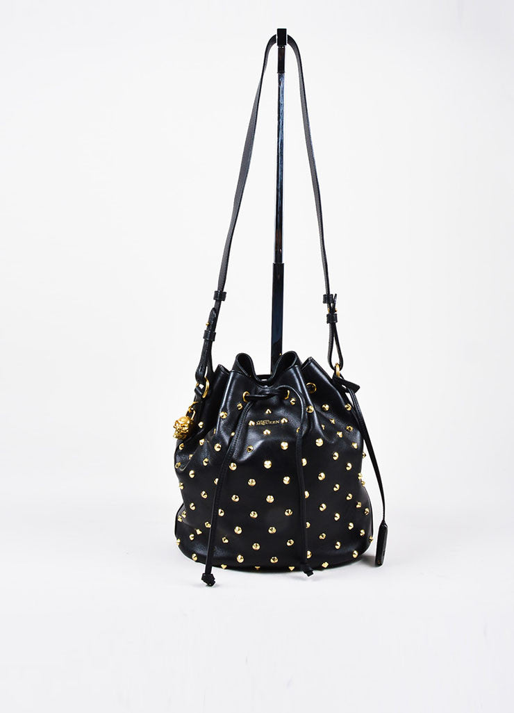 Alexander McQueen Black Leather Gold Toned Studded Skull Padlock Bucket Bag Frontview