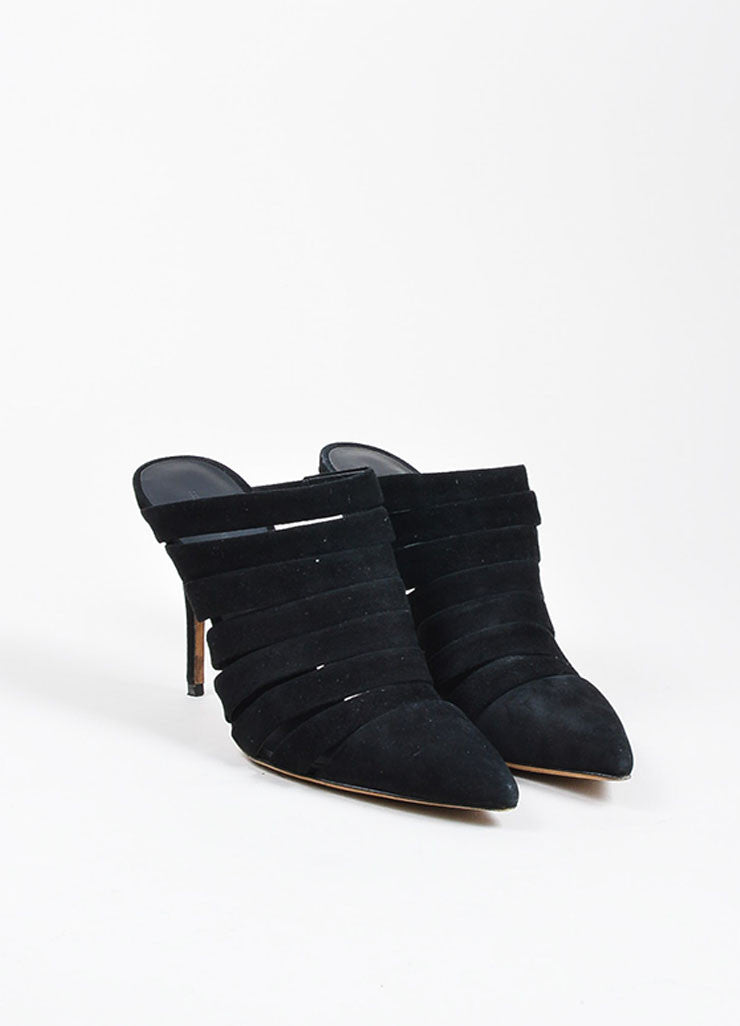 Black Suede Alexander Wang Strappy Pointed Toe Mules Front
