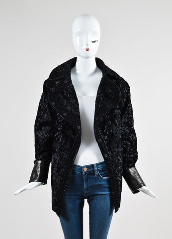 Black Andrew Gn Floral Embroidered Sheared Leather Cuff Jacket Frontview