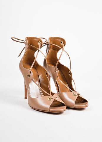 "Aquazzura ""Biscotto"" Taupe Leather Lace Up Peep Toe ""Tango"" Sandals  Frontview"