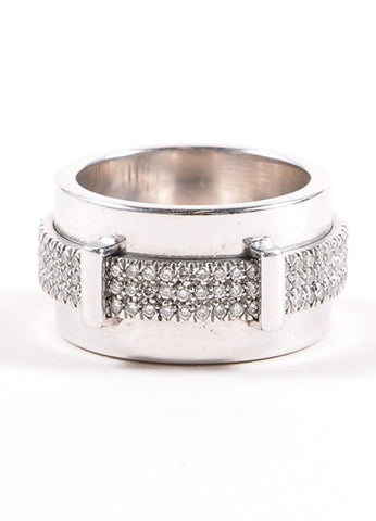 "18K White Gold and Pave Diamond Asprey ""Keria"" Rotating Bar Wide Ring Frontview"