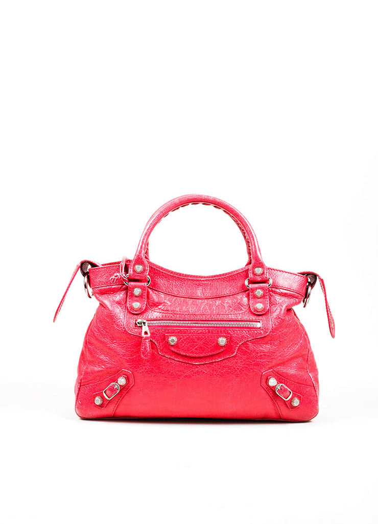 "Pink ""Rose Thulian"" Balenciaga Leather Studded ""Town"" Handbag Frontview"